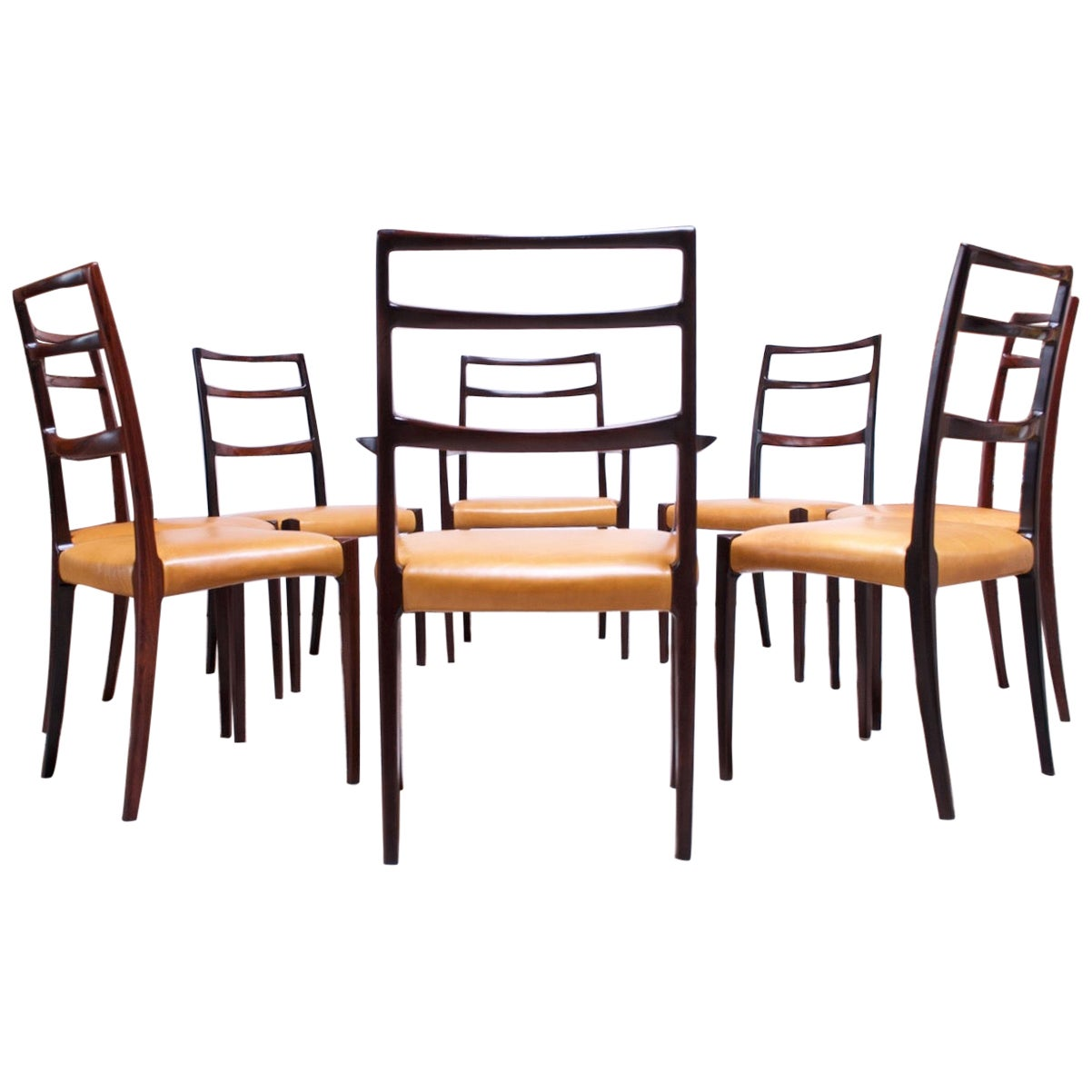 Set of Eight Danish Rosewood and Leather Dining Chairs by Sorø Stolefabrik