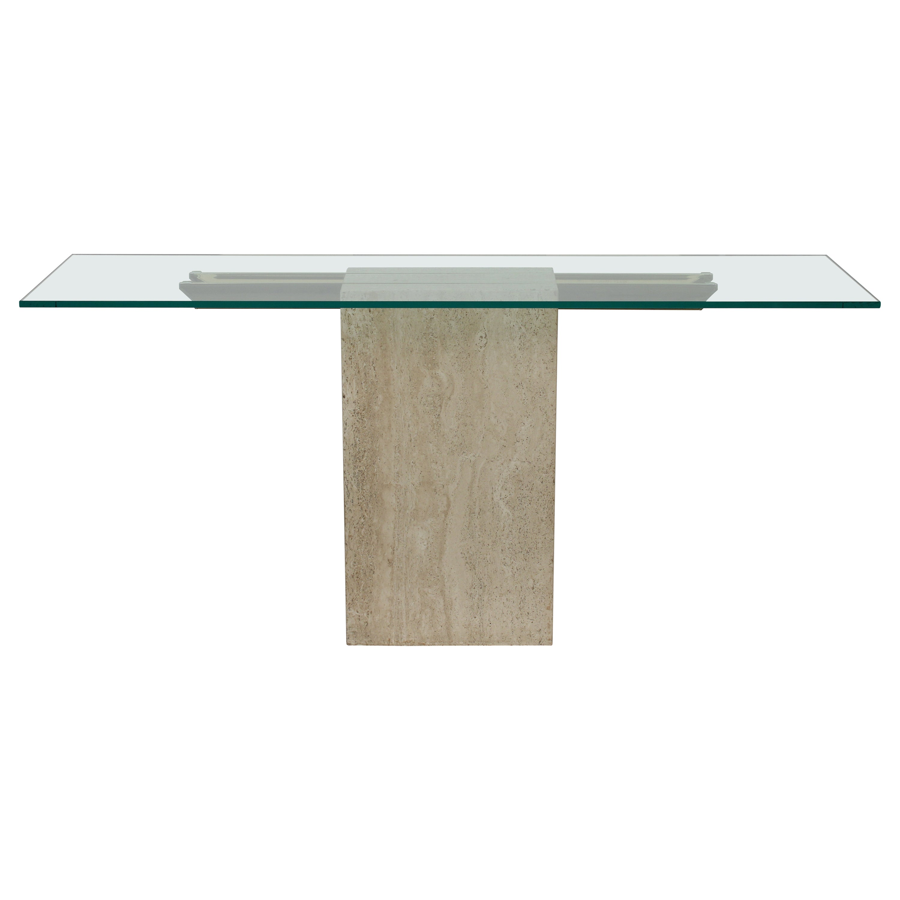 Mid-Century Modern Glass & Marble Console Table