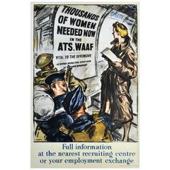 """Original Vintage World War II Poster """"Women Needed Now in the ATS, WAAF"""""""