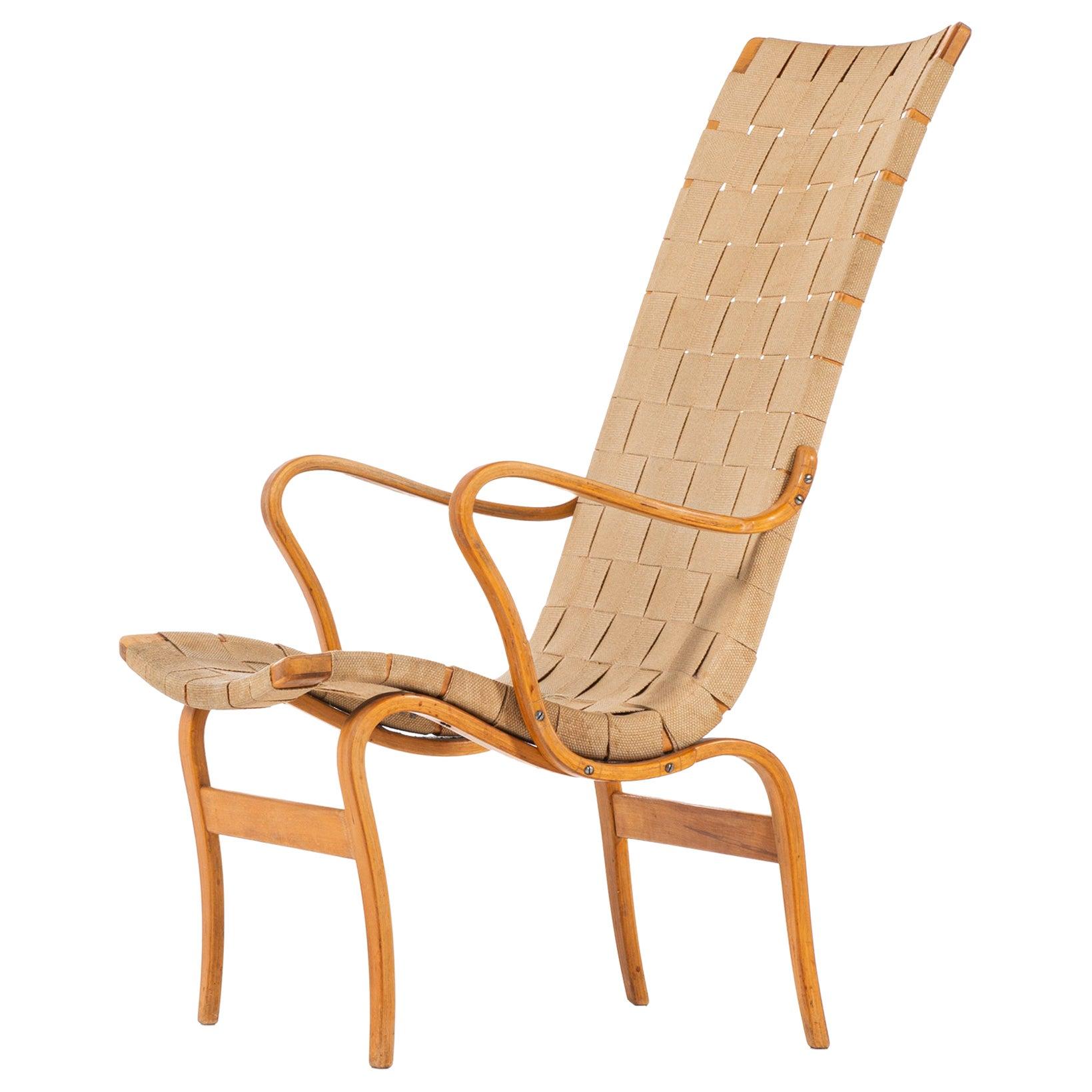Bruno Mathsson Easy Chair Model Eva Hög Produced by Karl Mathsson in Sweden