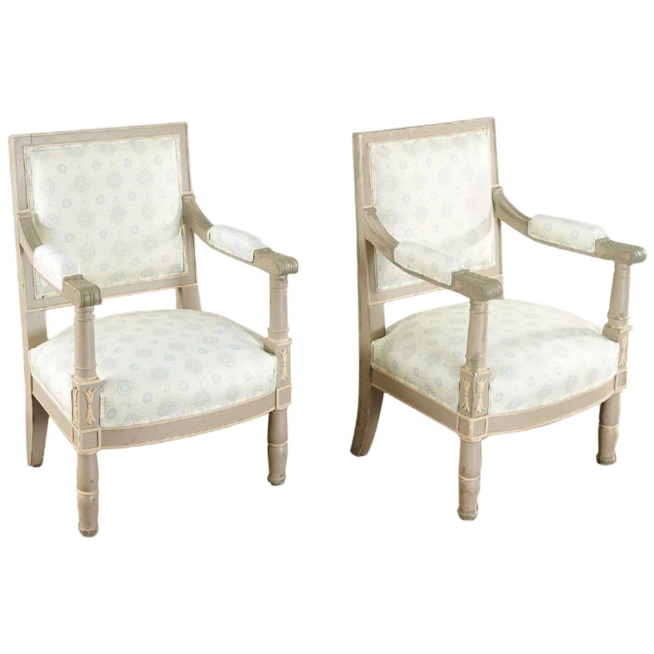 Pair of 19th Century Gustavian Swedish Finely Painted Decorated Armchairs