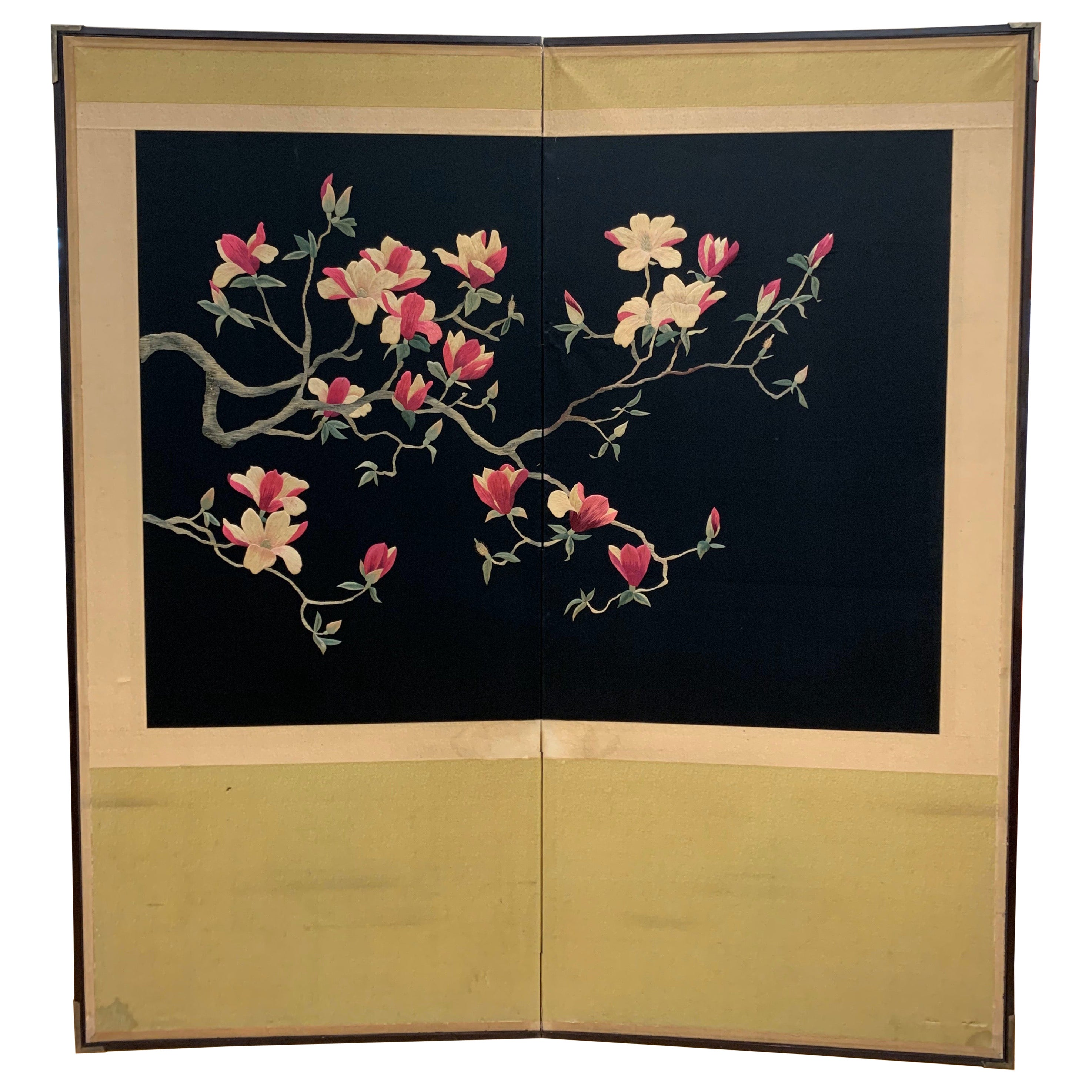 Large Asian Cherry Blossom Silk Embroidery Screen Room Divider