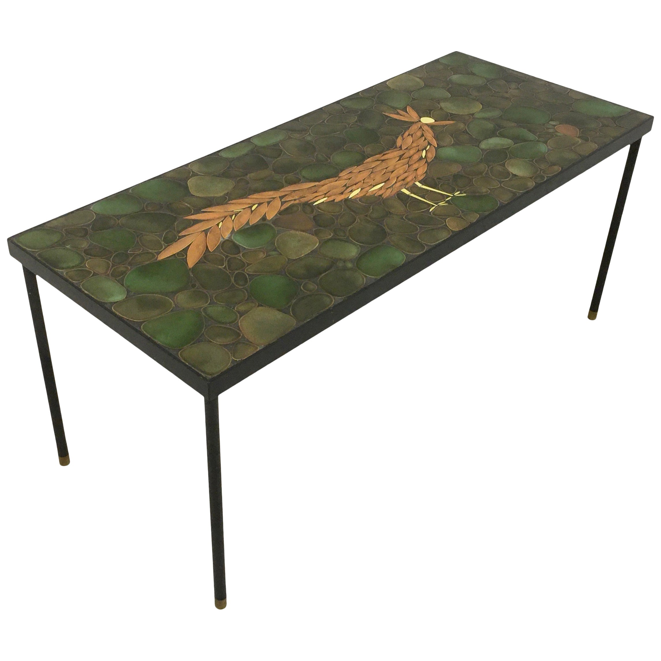 Vintage 1960s Ceramic, Steel and Brass Coffee Table