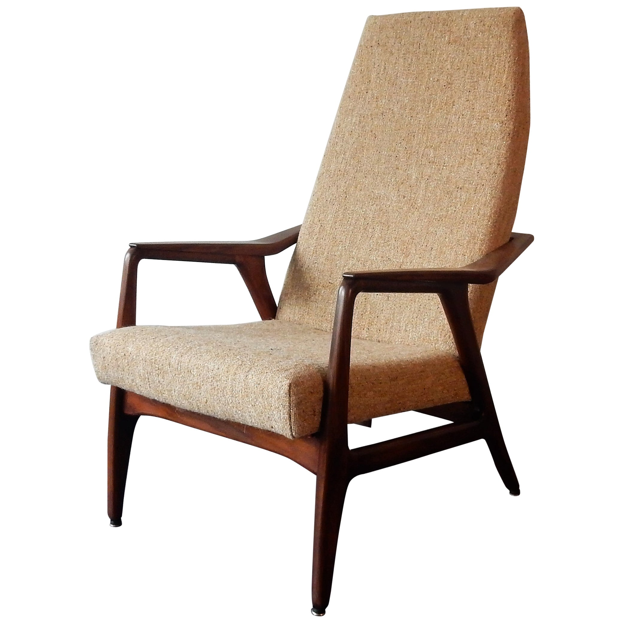 Vintage Teak High Back Lounge Chair, 1960s
