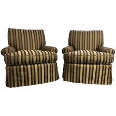 Elegant and Comfortable Pair of Club Chairs on Caters in a Classic Stripe