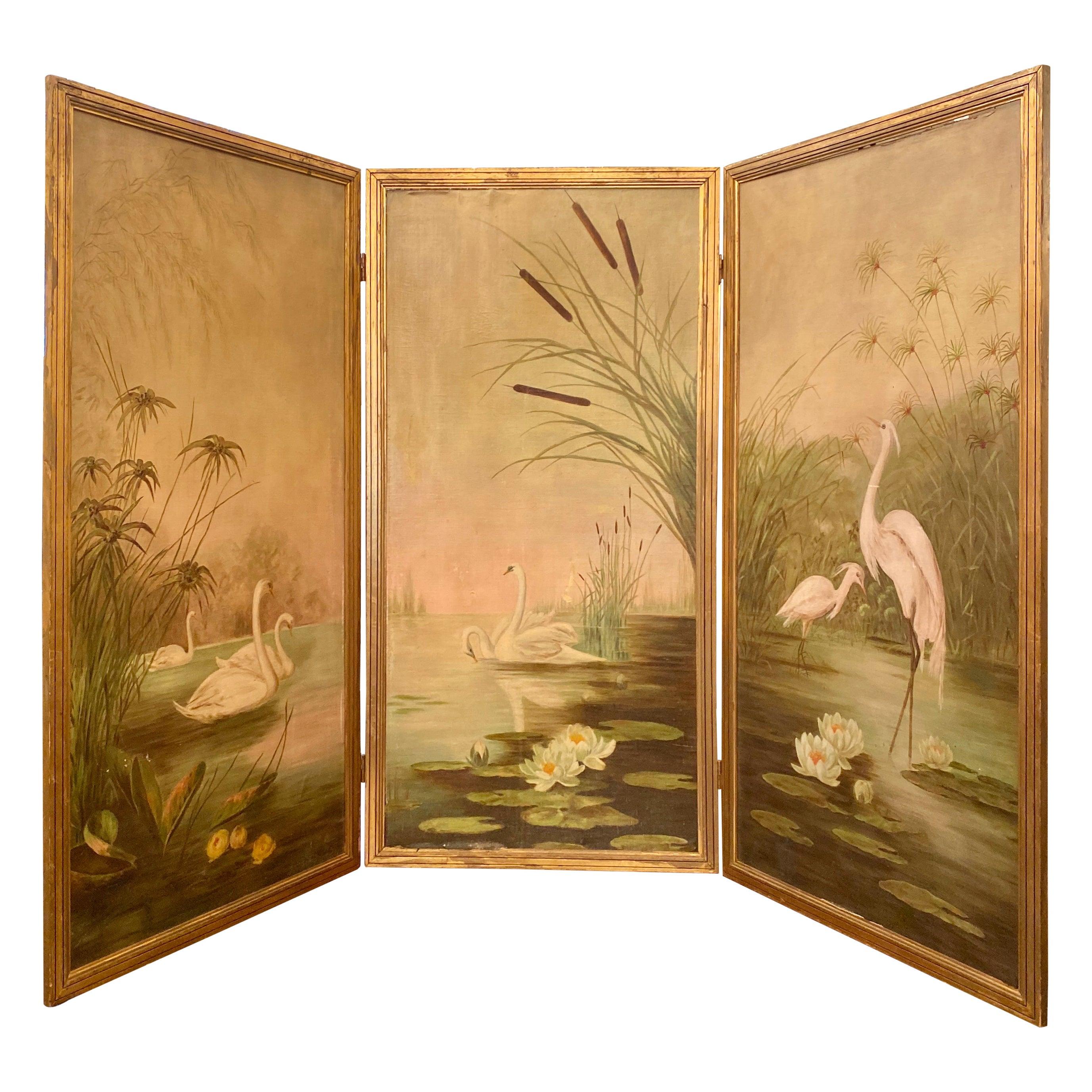 Estate Three Paneled Art Nouveau Painted Oil on Canvas Landscape Screen