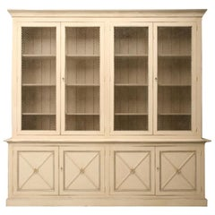 Directoire Style Painted Bookcase with Chicken Wire Doors