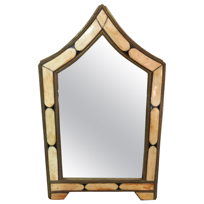 Modern Moroccan Small Wall or Vanity Mirror, Natural Camel Bone & Brass Inlay