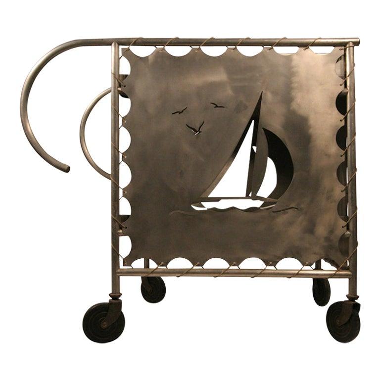 Mid-Century Modern Nautically Themed Bar Cart