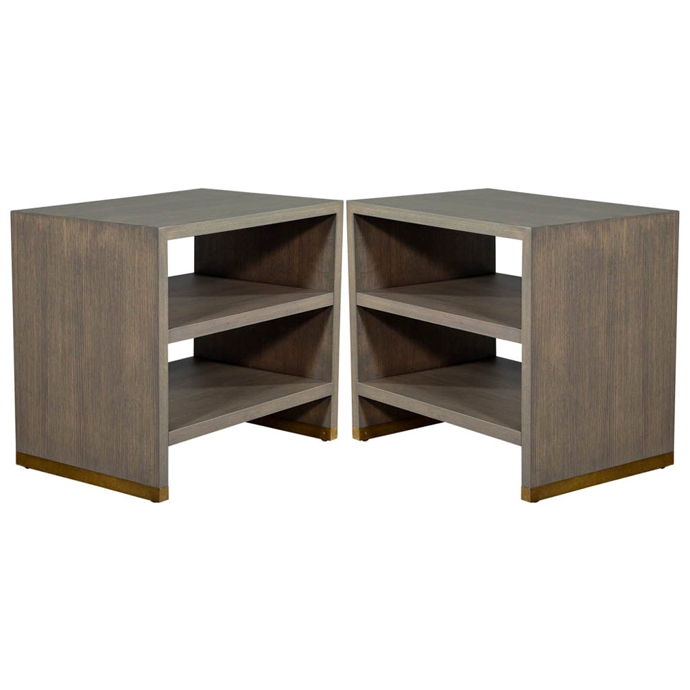 Pair of Oak Console End Tables with Brass Accents