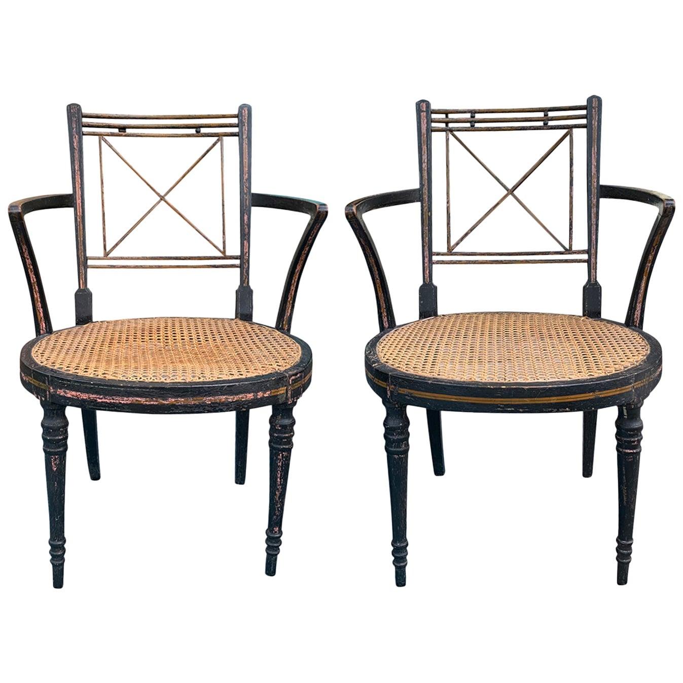 Pair of Ebonized English Regency Armchairs with Cane Seats, circa 1810