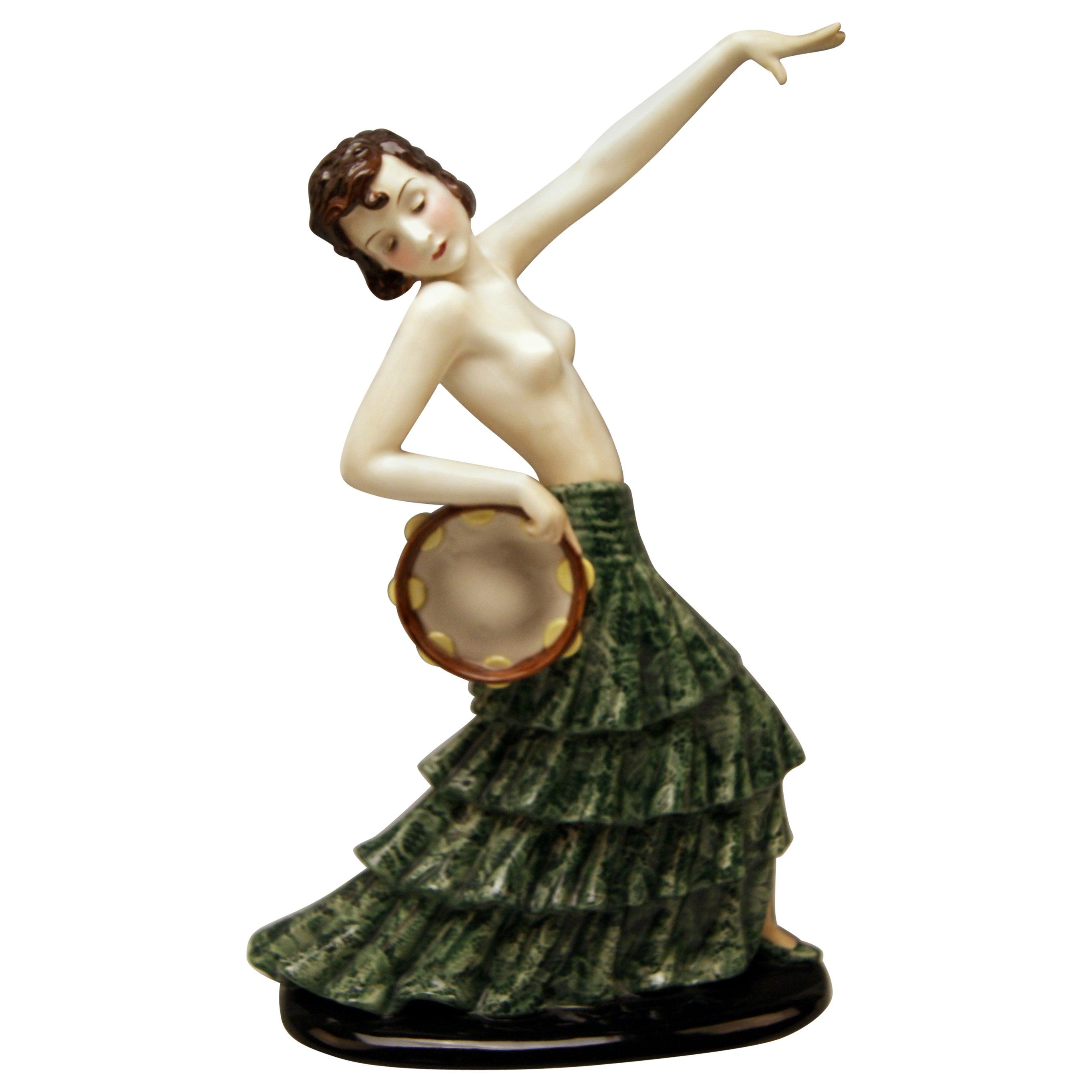 Goldscheider Vienna Spanish Lady Dancer with Tambourine Model 7699 Dakon, 1938