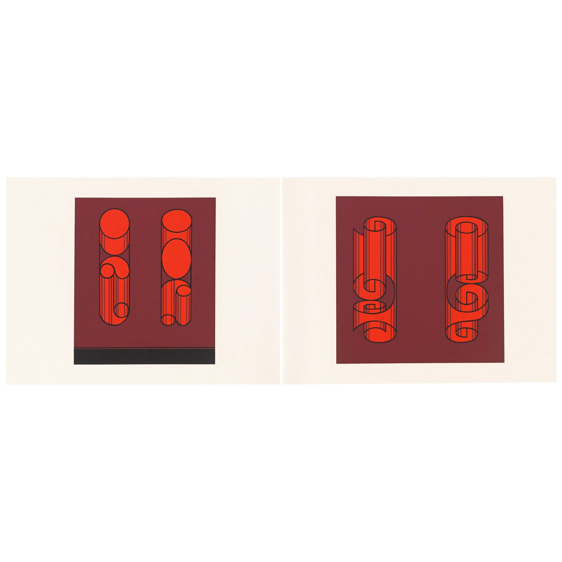 Josef Albers Screen Print Diptych from Formulation, Articulation