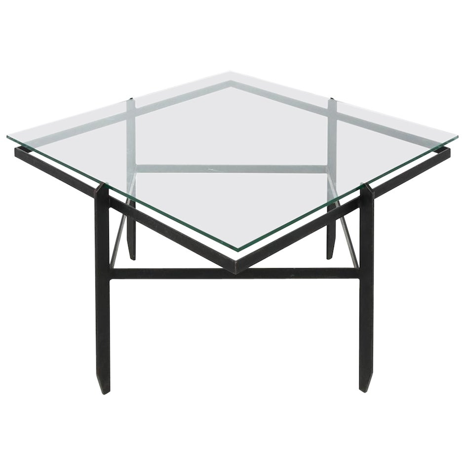 Vintage Iron and Glass Diamond Coffee Table