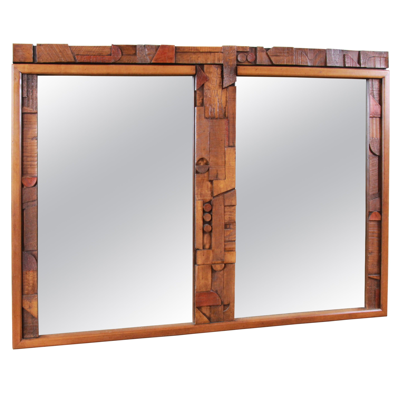 Lane Pueblo Mid-Century Modern Brutalist Double Mirror