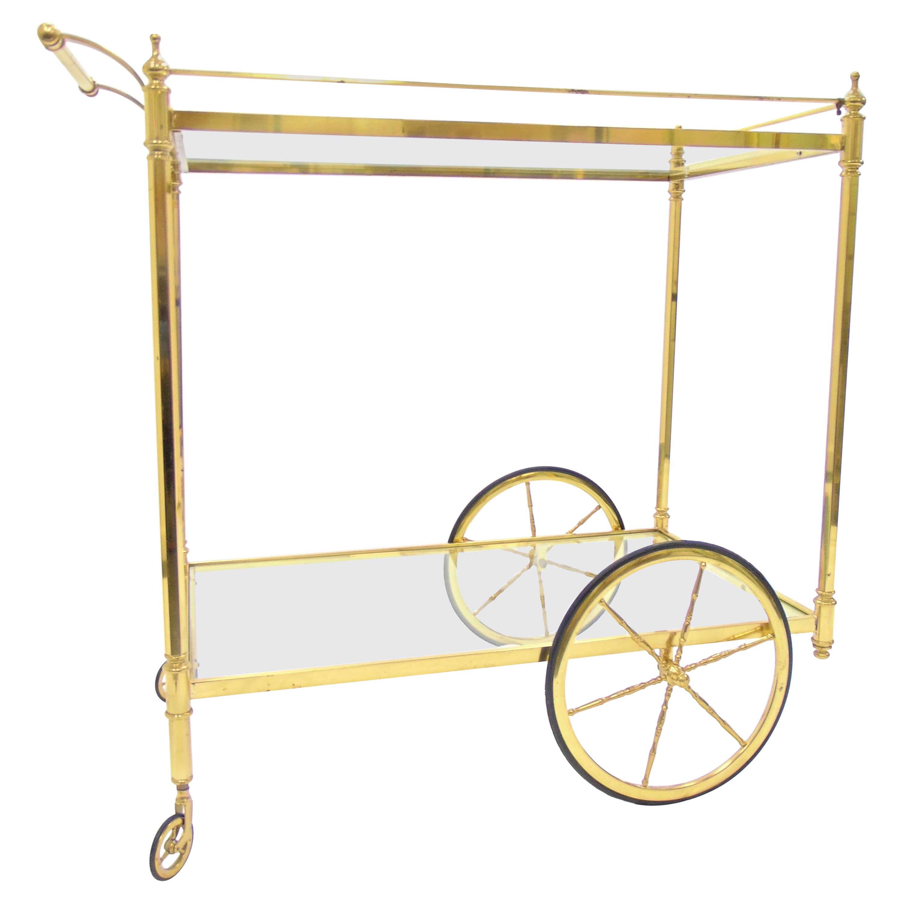 Vintage Italian Brass And Glass Bar Cart At 1stdibs