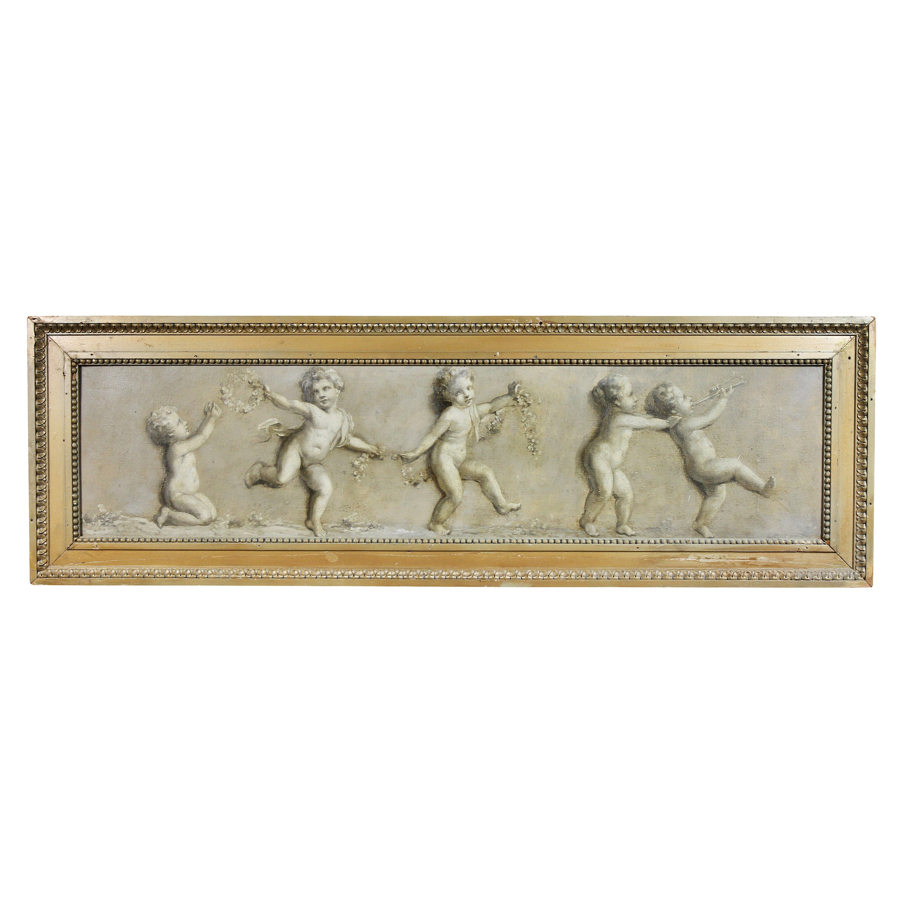 French Grisaille Oil on Canvas of Putti