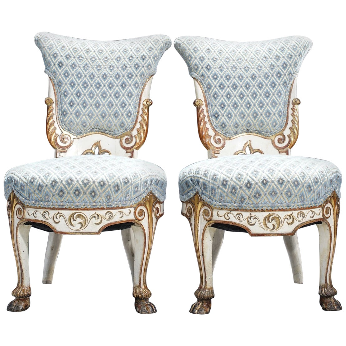 Pair of 19th Century Italian Giltwood and Painted Side Chairs