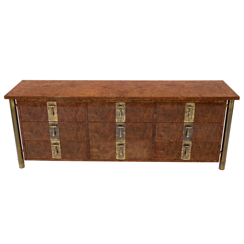 Mastercraft Burl Wood and Brass Hardware Long 9 Drawers Credenza Dresser