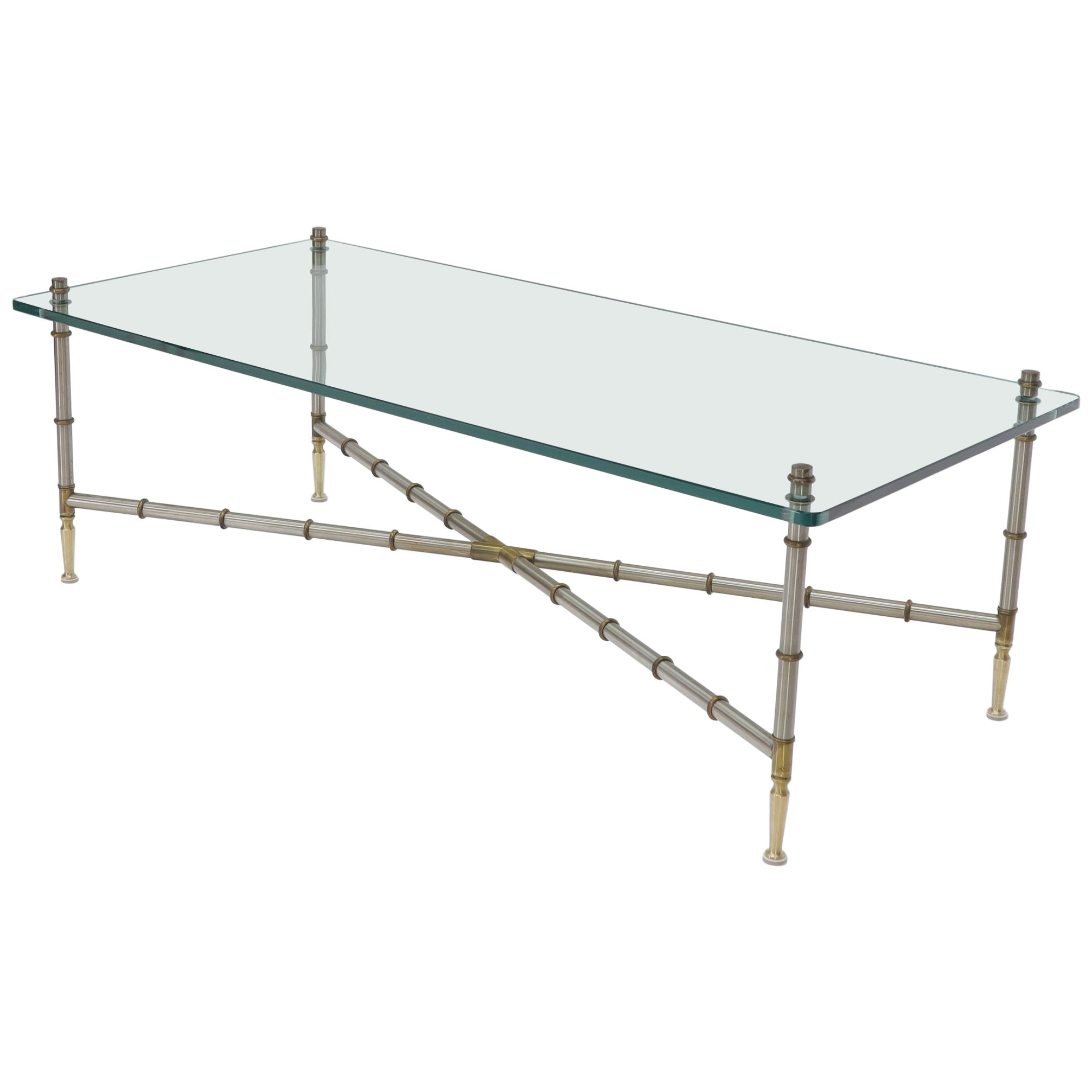 Rectangle Glass Top Chrome and Brass Faux Bamboo Coffee Table