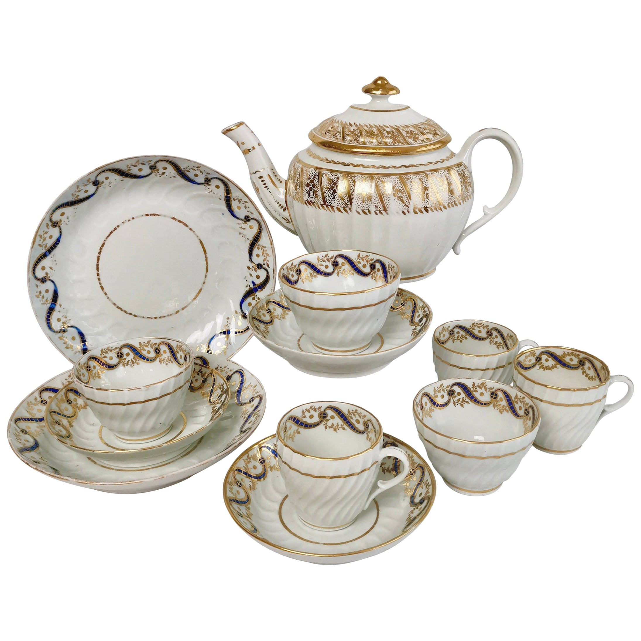Coalport John Rose Porcelain Tea Service, White and Gilt, Georgian, circa 1795