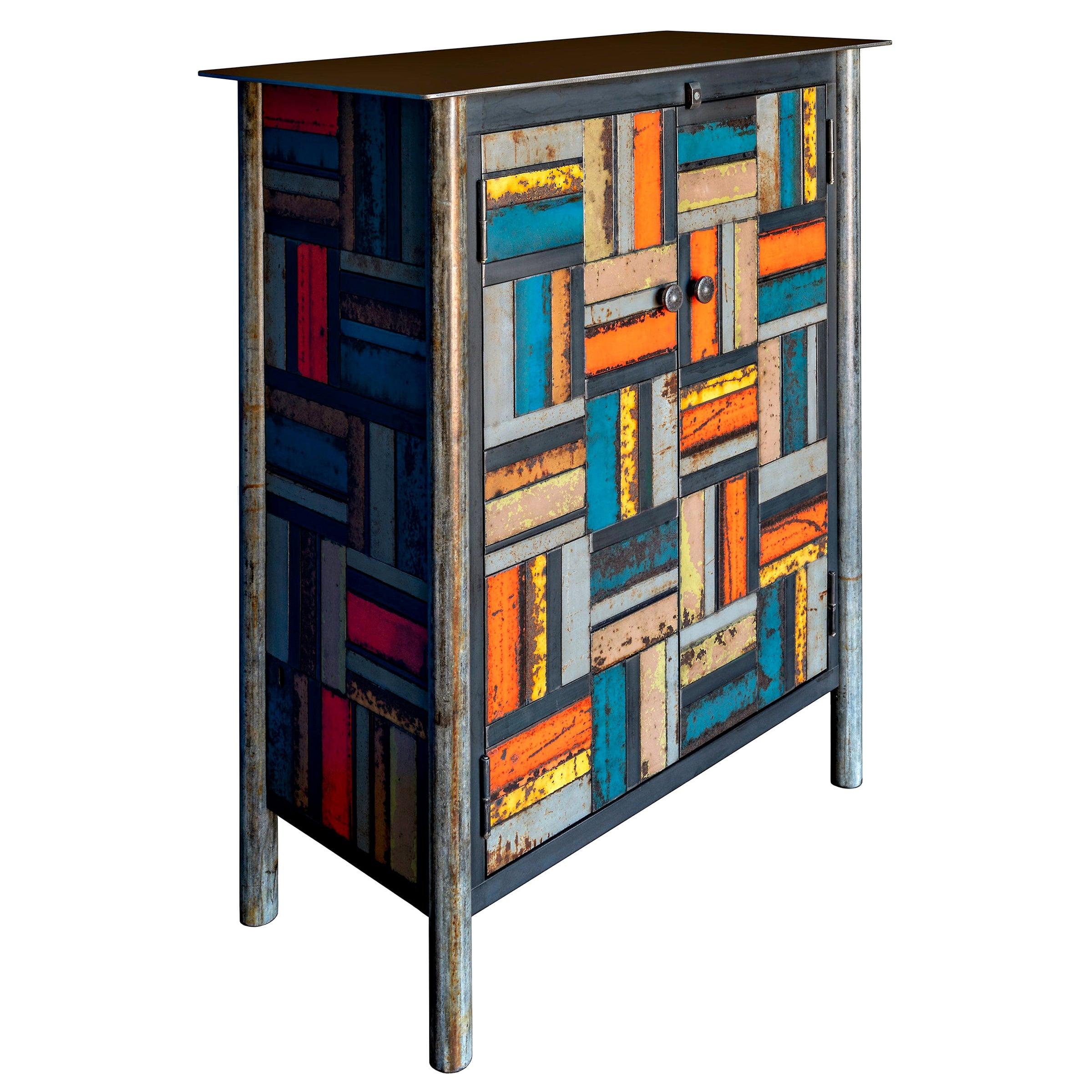 Jim Rose Two-Door Basket Weave Multicolor Steel Quilt Pattern Cupboard