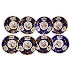 Set of 8 Bloor Derby Dessert Plates, 1825-1830