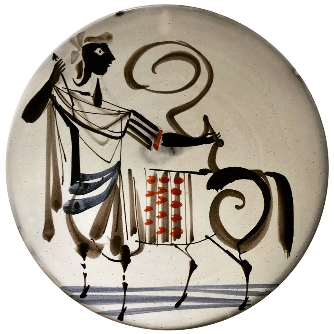 """Roger Capron Ceramic Dish / Cup with Stylized Figure """"Centaure"""", Vallauris 1950s"""