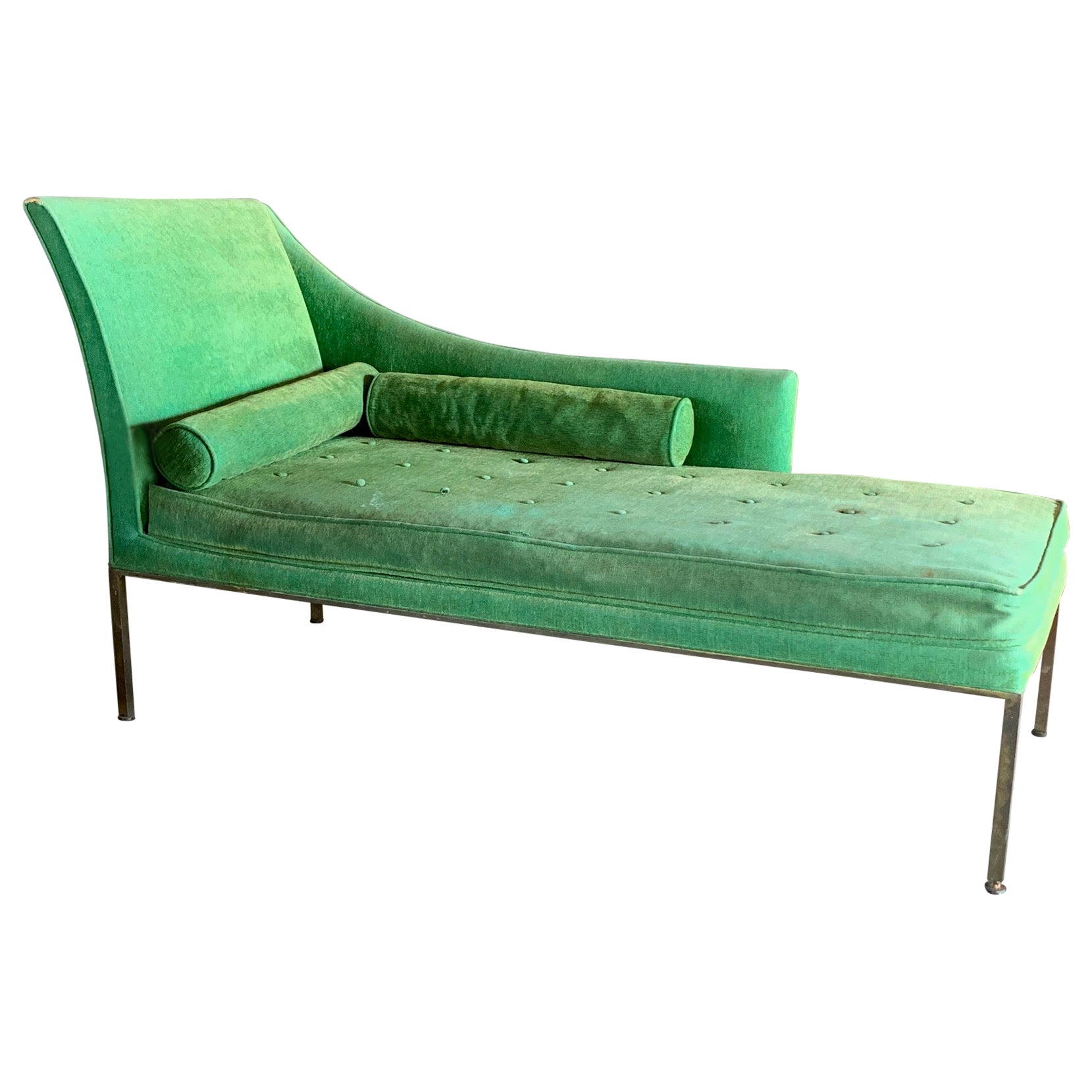 An Elegant Harvey Probber Chaise with Brass Frame