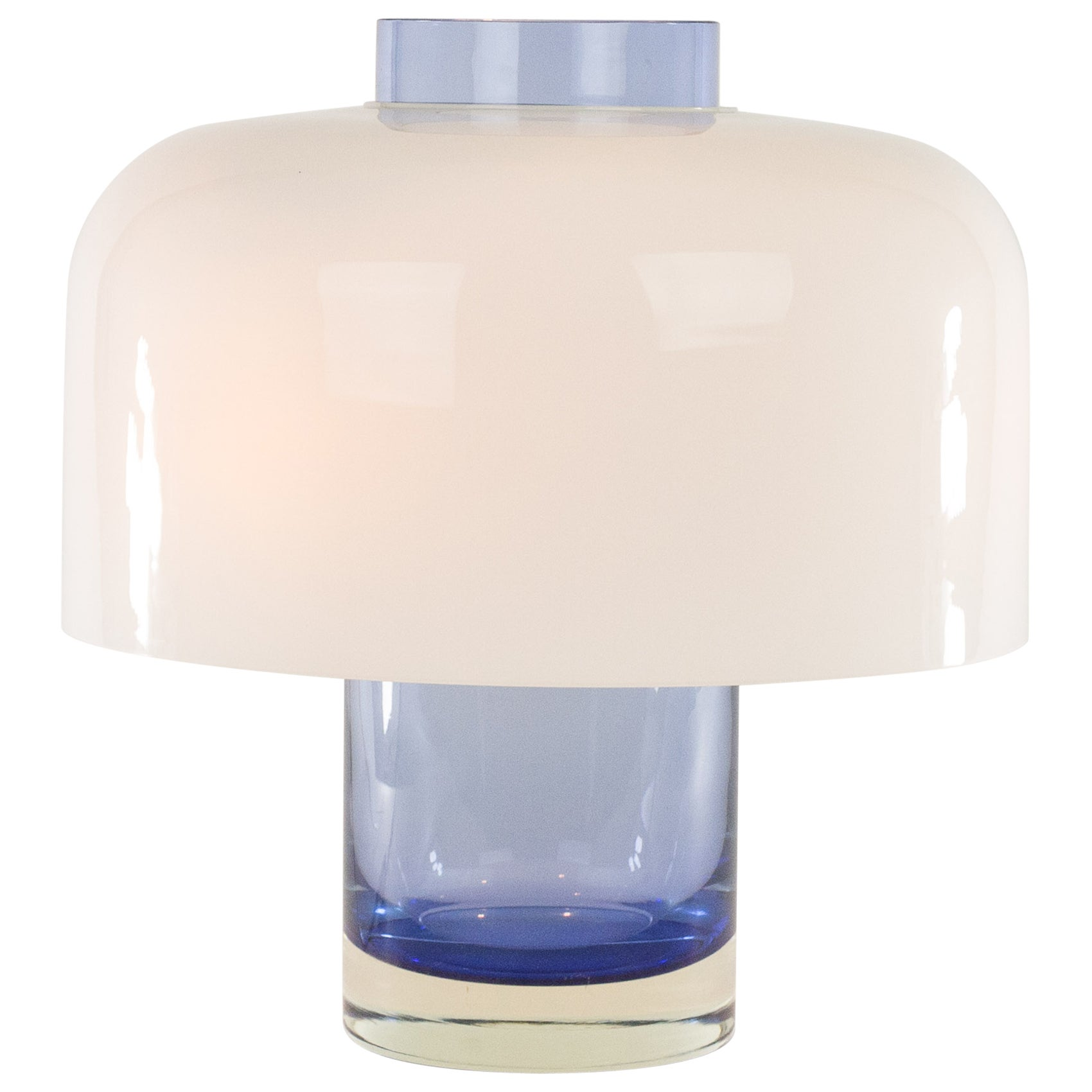 Blue and white Glass Table Lamp LT 226 by Carlo Nason for A.V. Mazzega, 1960s