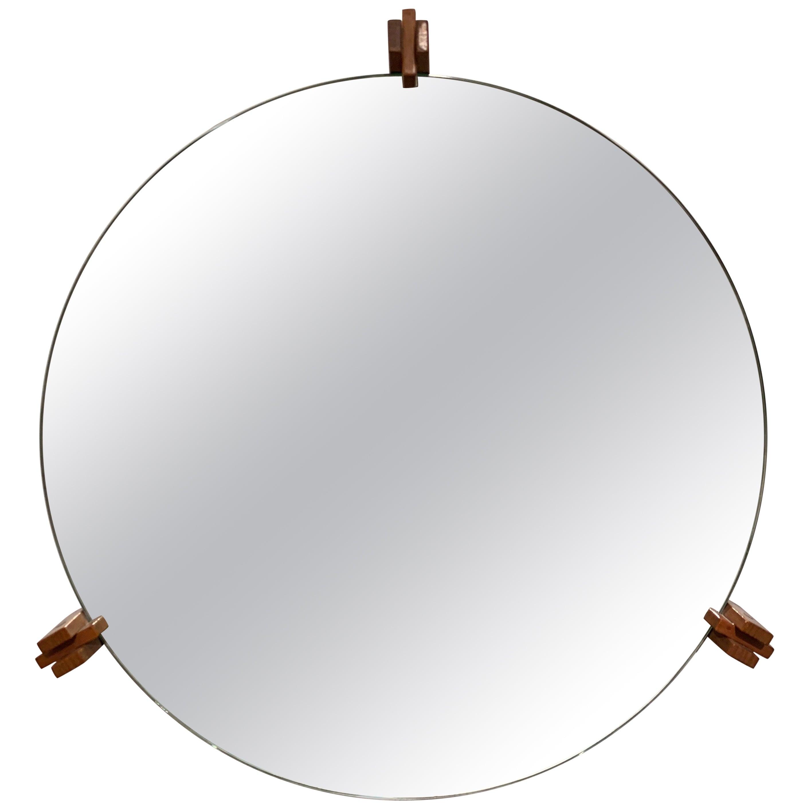 Architectural Italian Wood Mirror, 1960s
