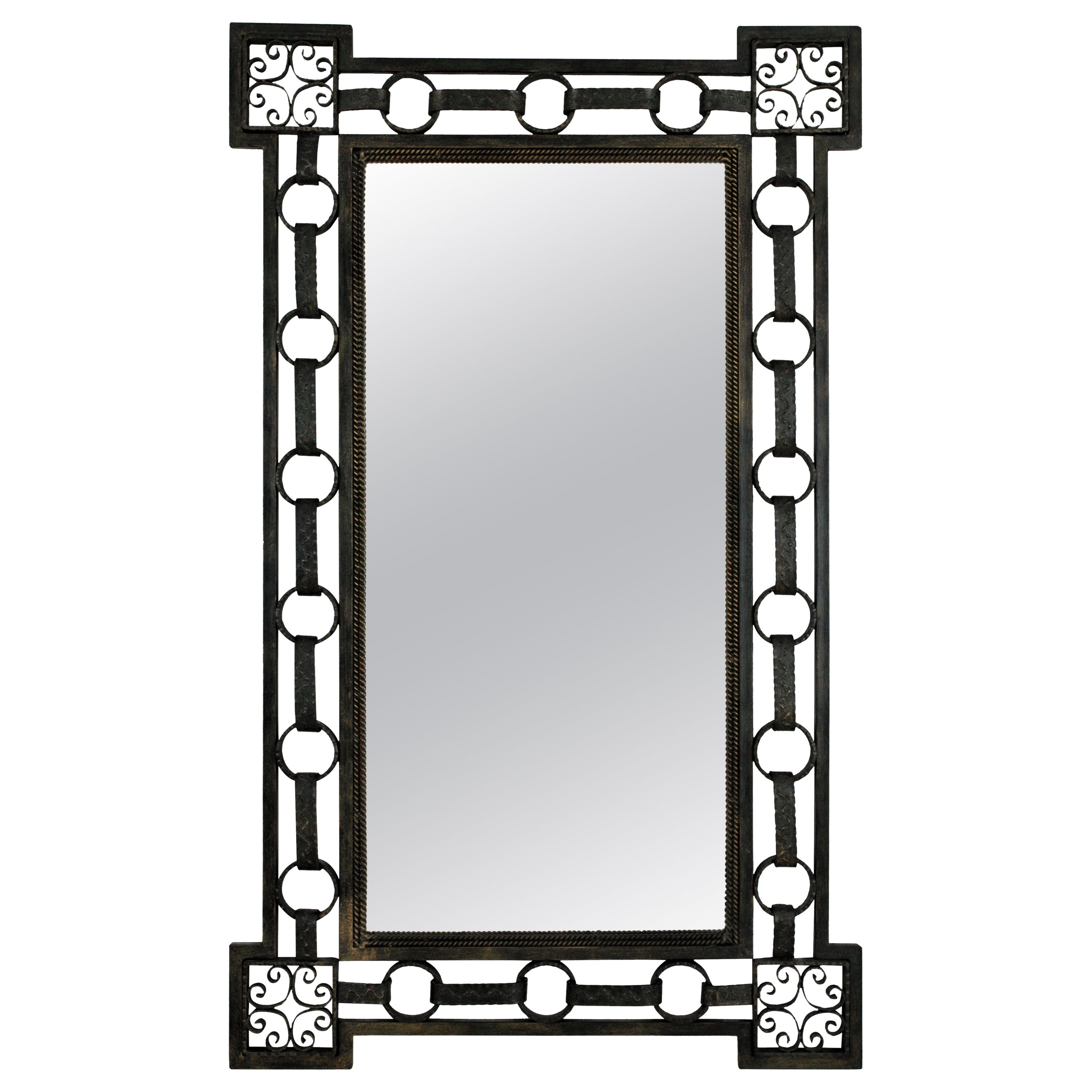French Wrought Iron Rectangular Mirror with Chain Link Design, 1940s