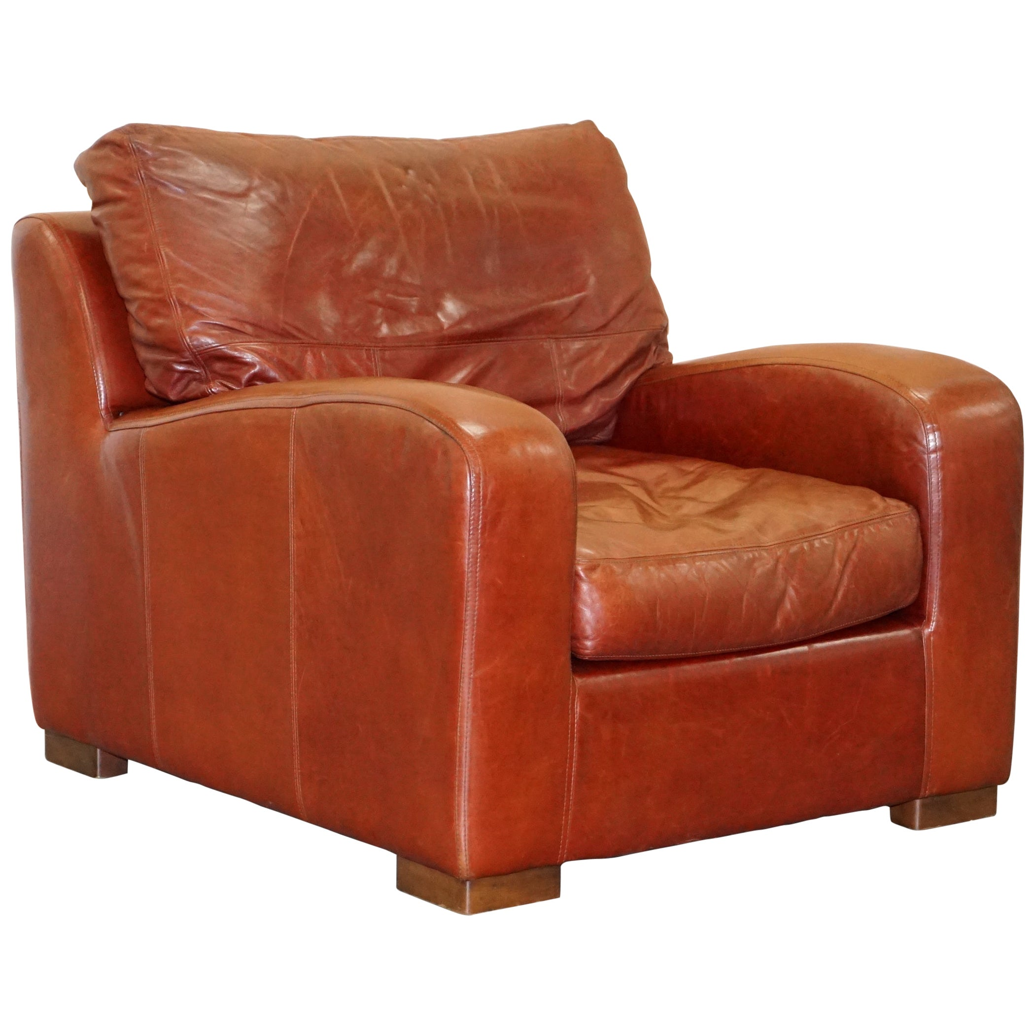 Duresta Panther Aged Brown Heritage Leather Armchair Feather Cushion