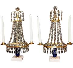 Pair of  Candlesticks with Cobalt Blue Glass