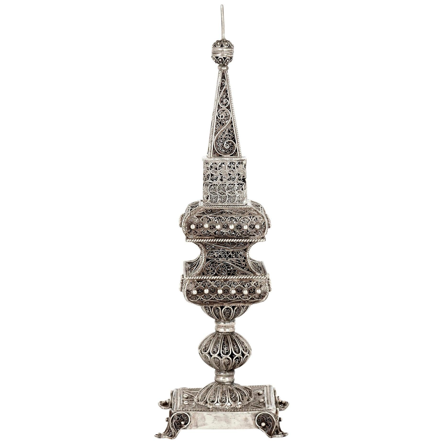 Silver Filigree Judaica Spice Tower