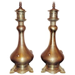 French Chiseled Bronze Table Lamps