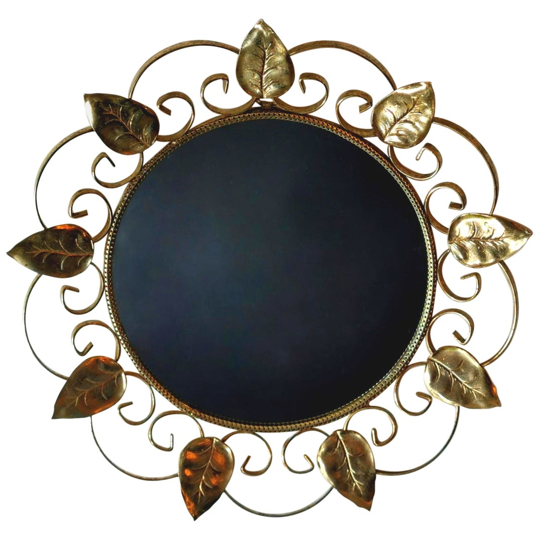 Vintage Mirror in Gilded Metal with Mulberry Leaves, France