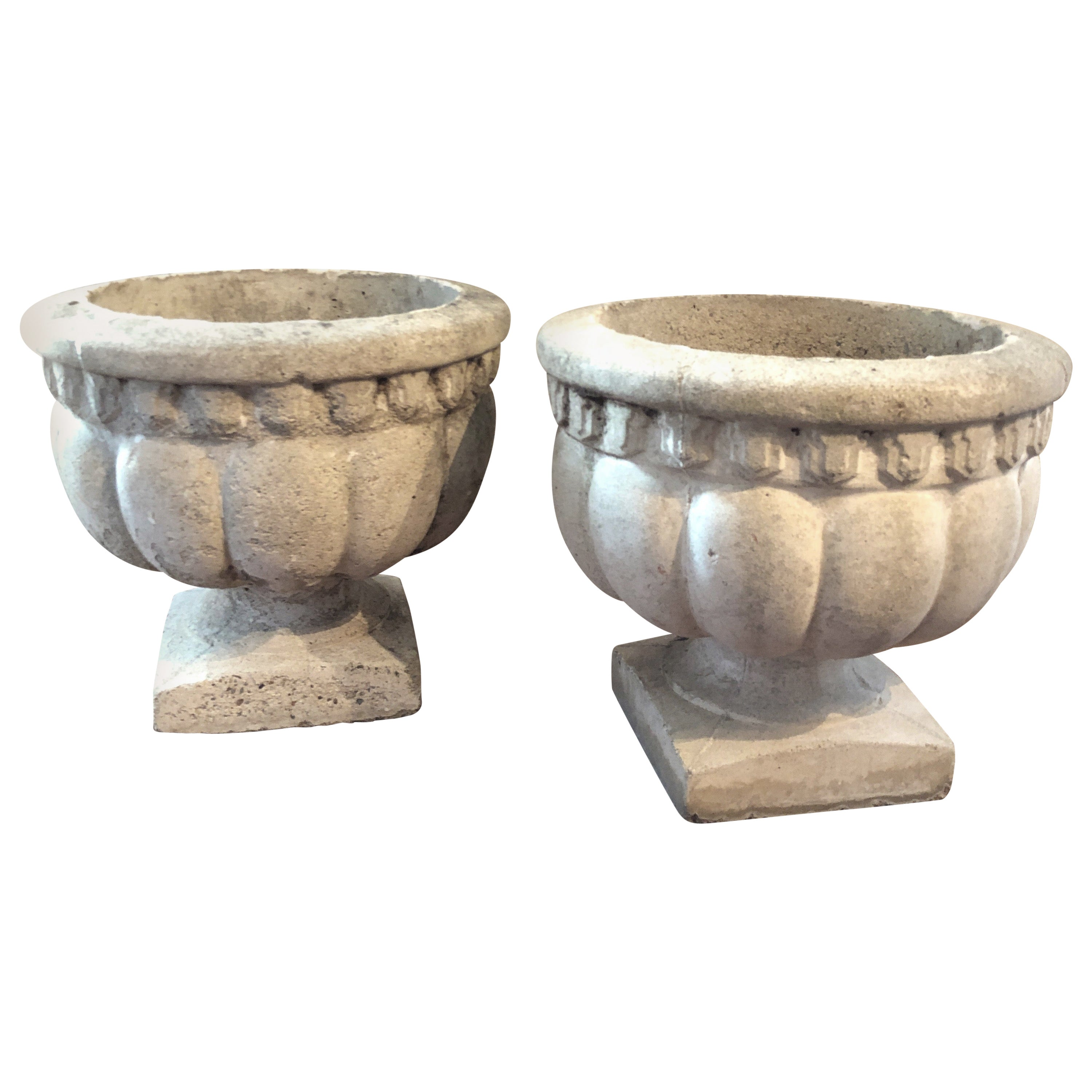 Pair of Mid-20th Century French Cast Stone Garden Urns, Planters, Jardinières