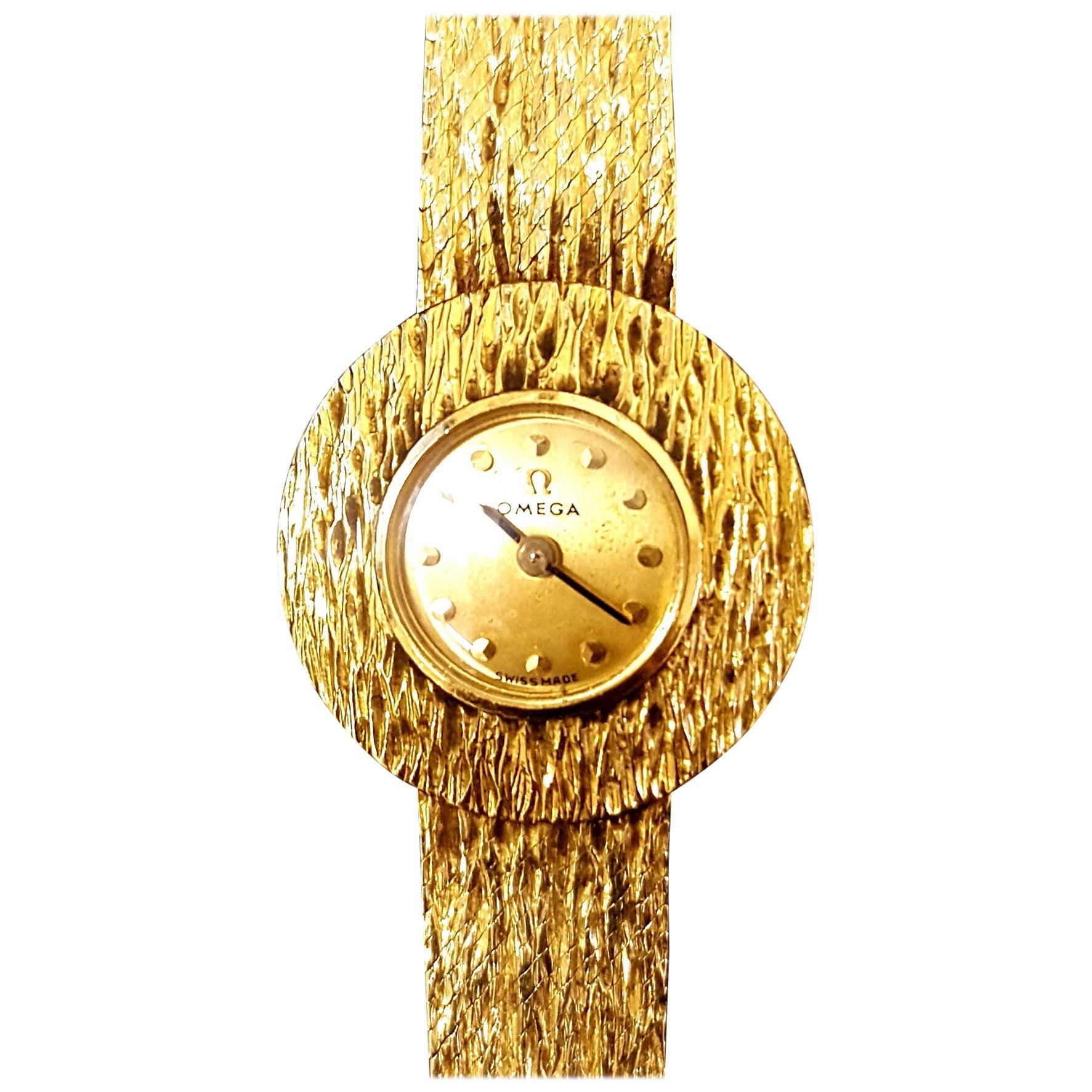 Mid-Century Modern 14-Karat Gold Omega Women's Wristwatch
