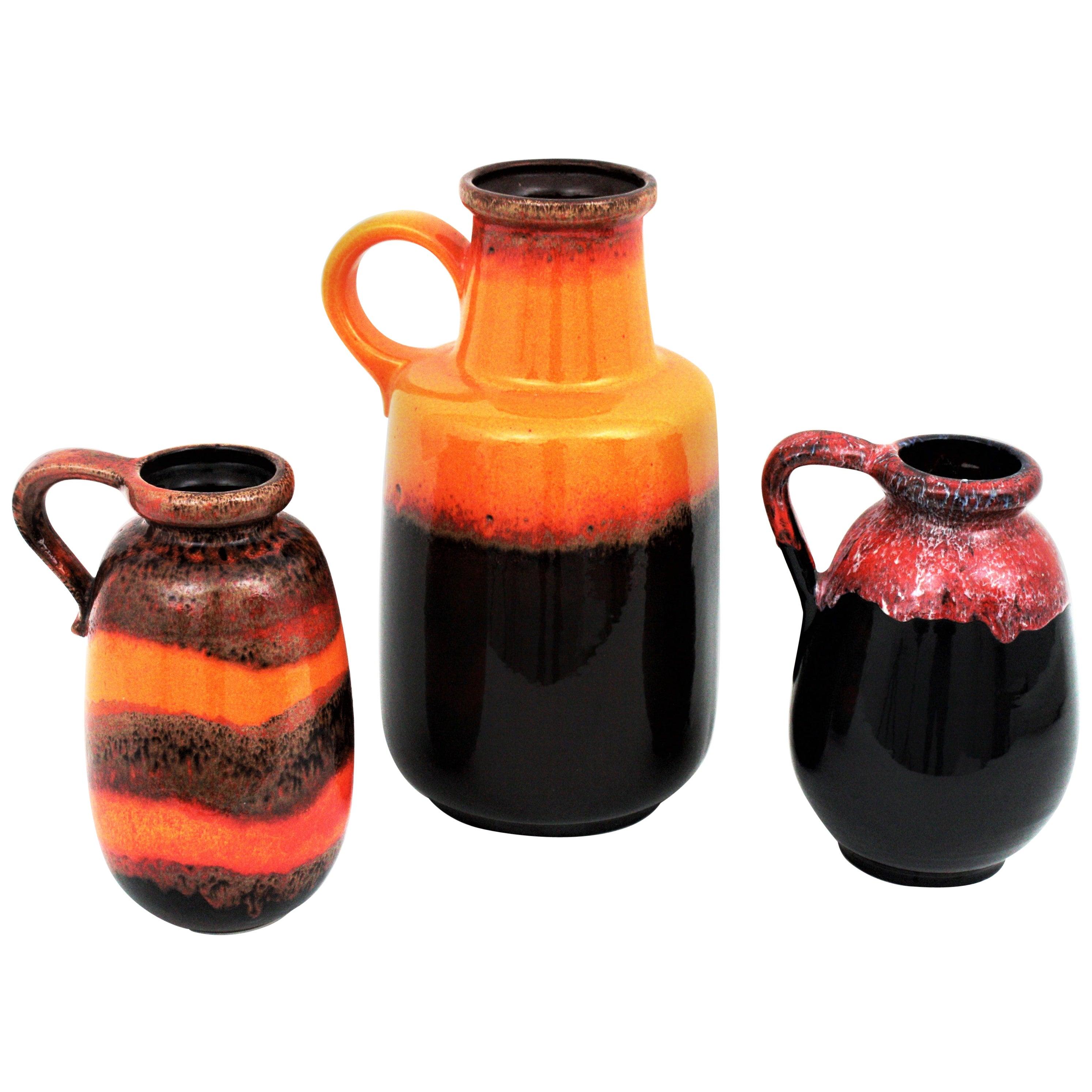 Set of Three West German Scheurich Keramik Fat Lava Glazed Ceramic Vases / Jars