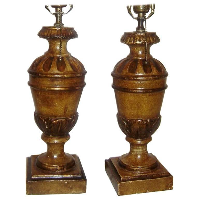 Italian Carved Wooden Lamps
