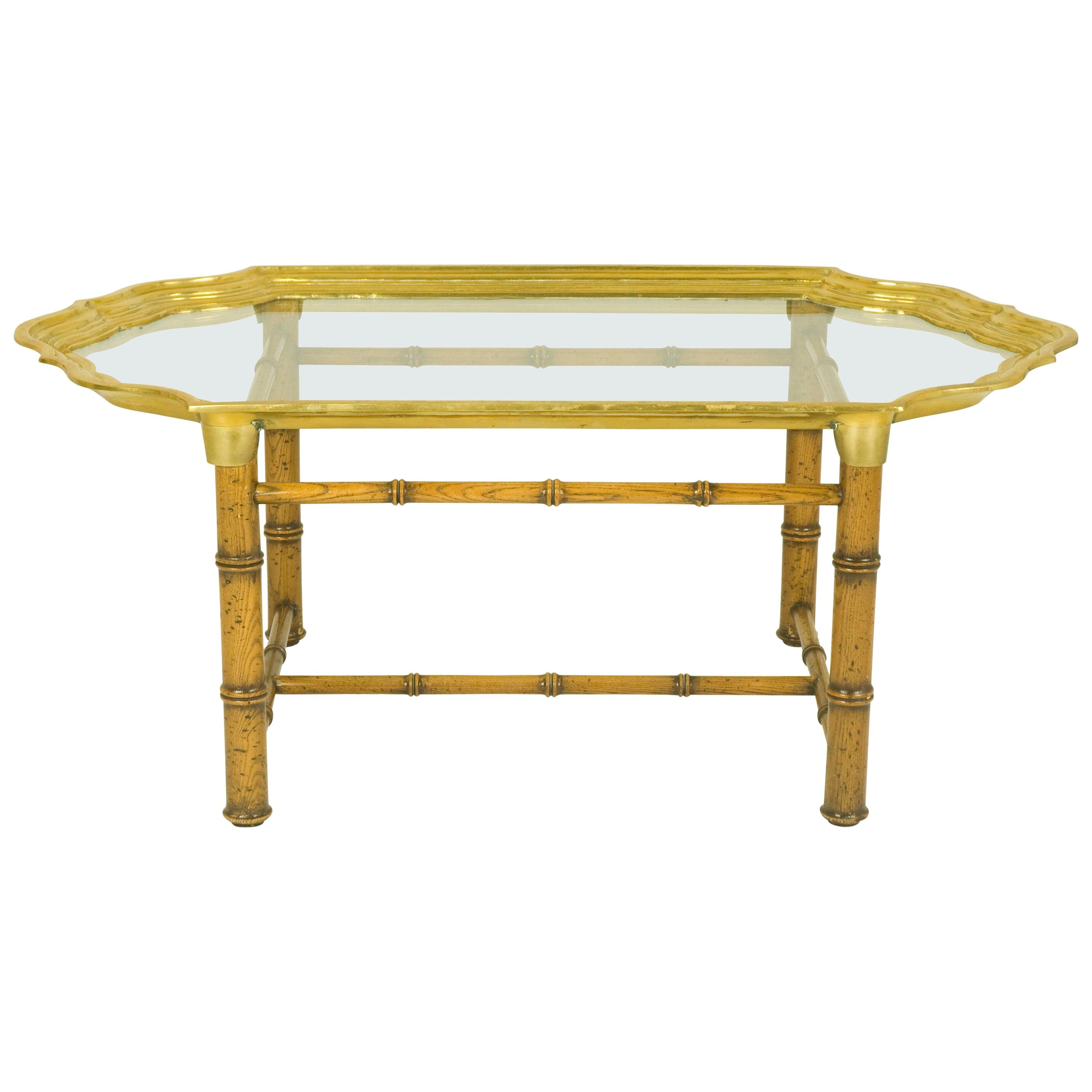 Italian Wood and Brass 1970s Coffee Table