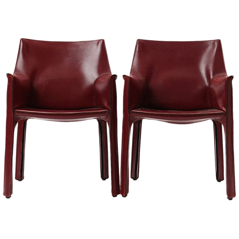 1970s Pair of Italian Cab Armchairs by Mario Bellini for Cassina
