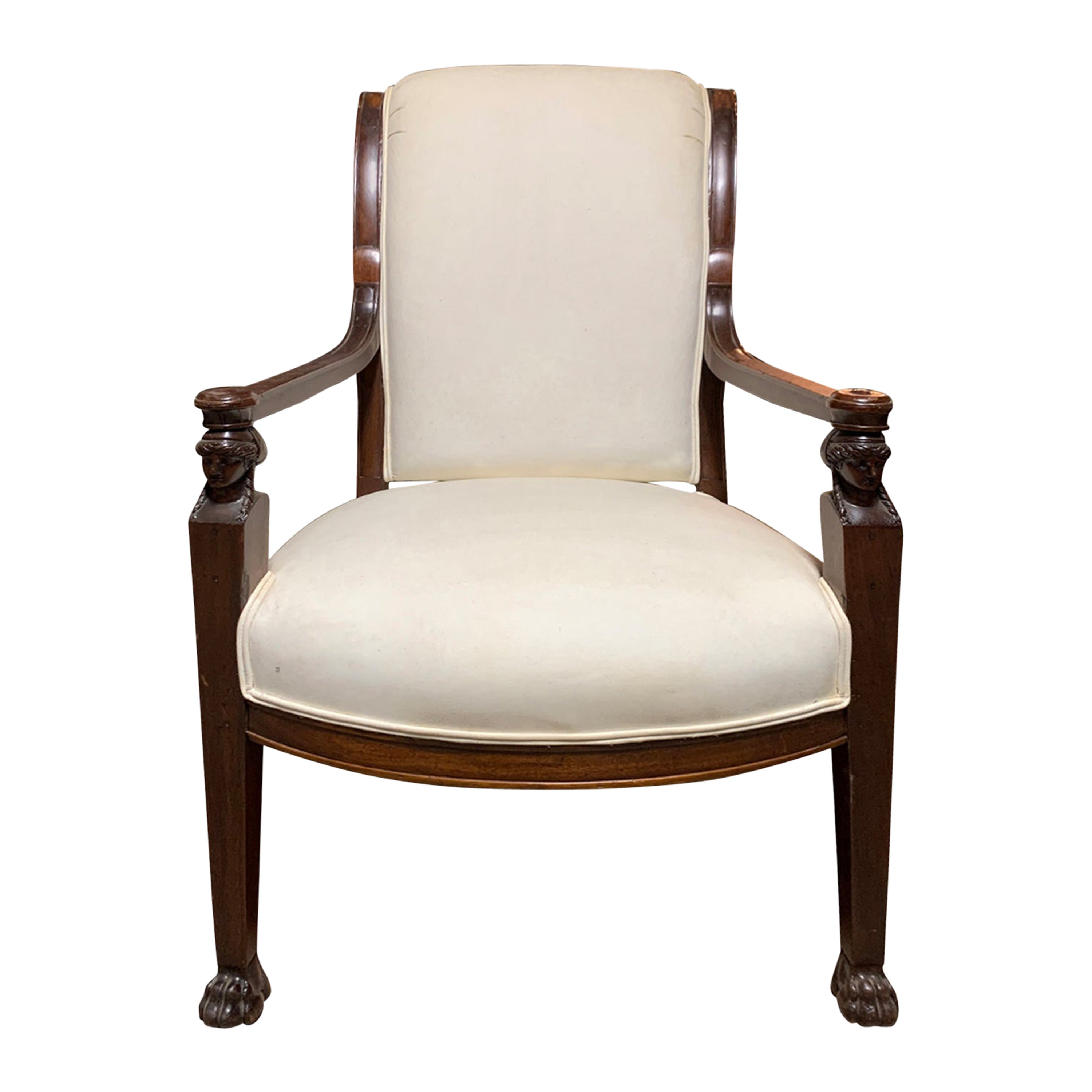 19th Century Empire Style Fruitwood Armchair
