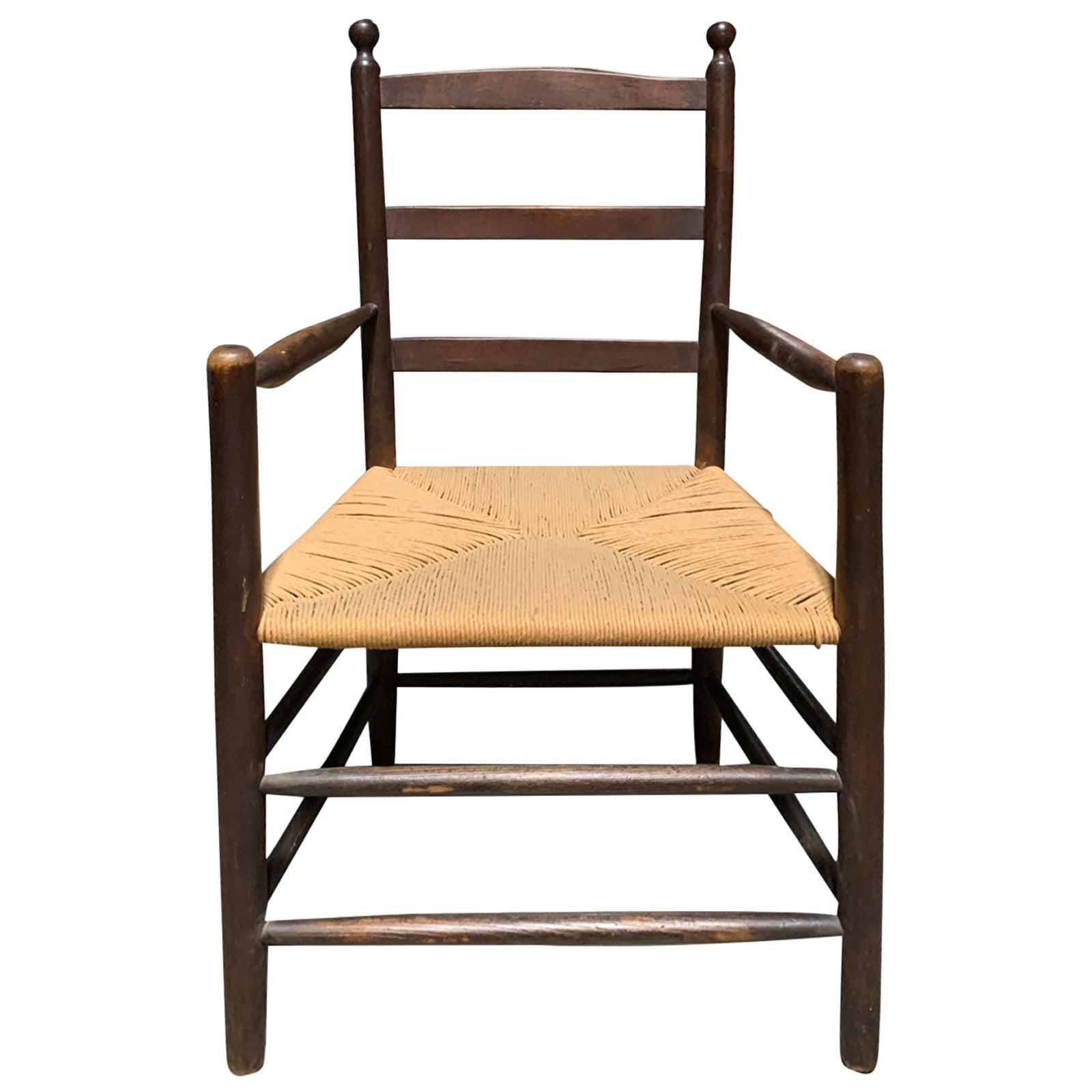 Primitive Armchair with Rush Seat, circa 1900