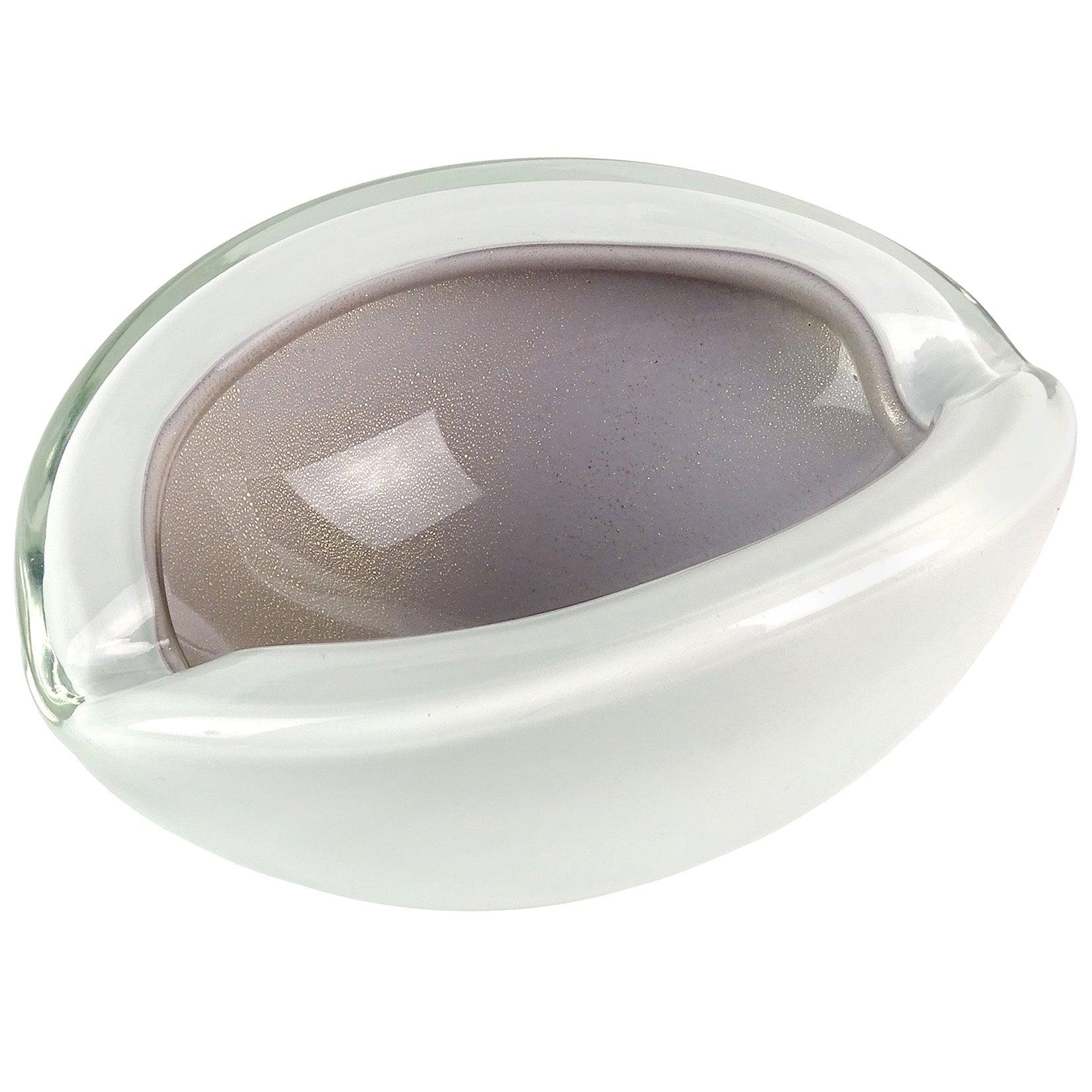 Alfredo Barbini Murano Purple Gold Flecks Italian Art Glass Midcentury Bowl