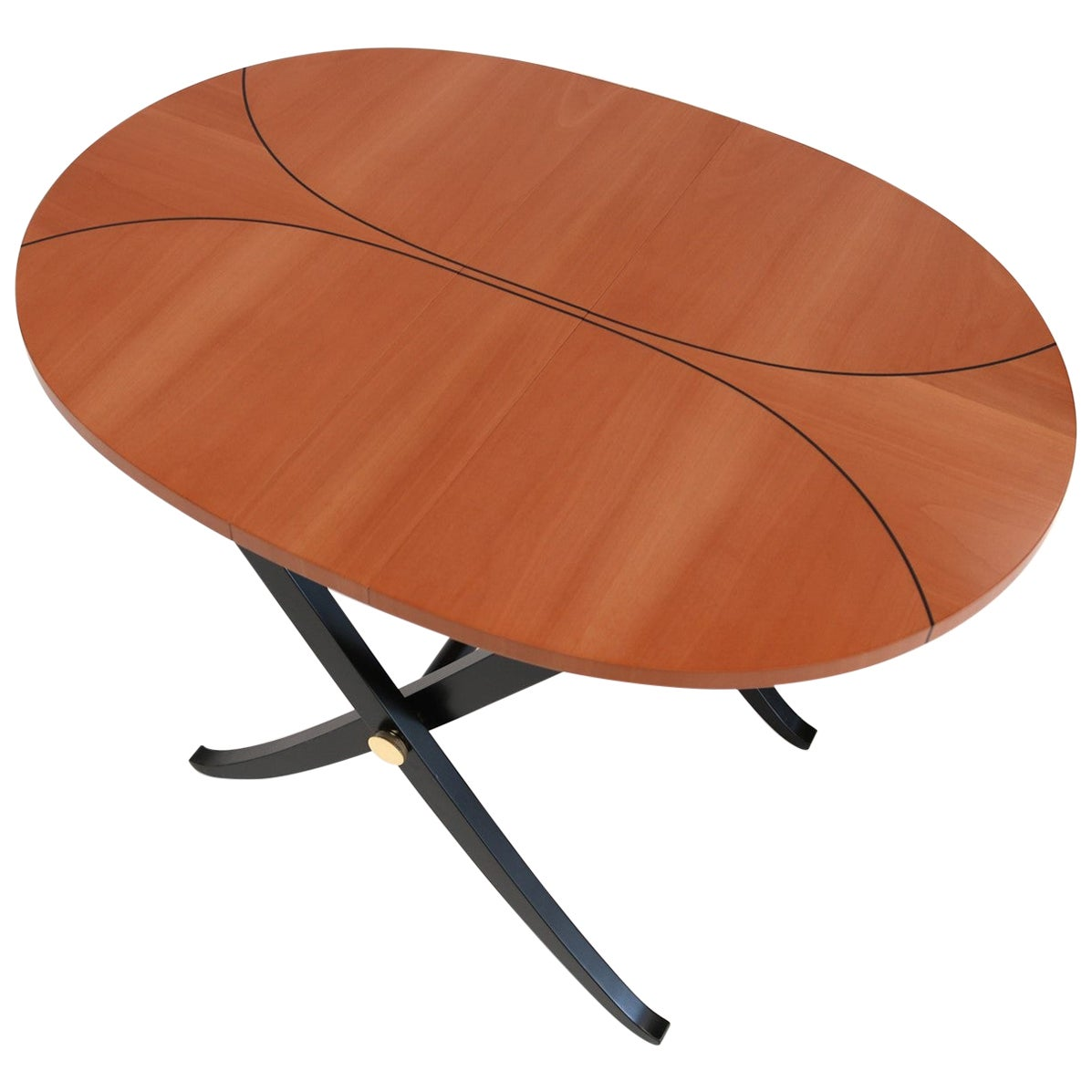 Ariel Ebony Inlaid oval foldable coffee contemporary Table by Giordano Viganò