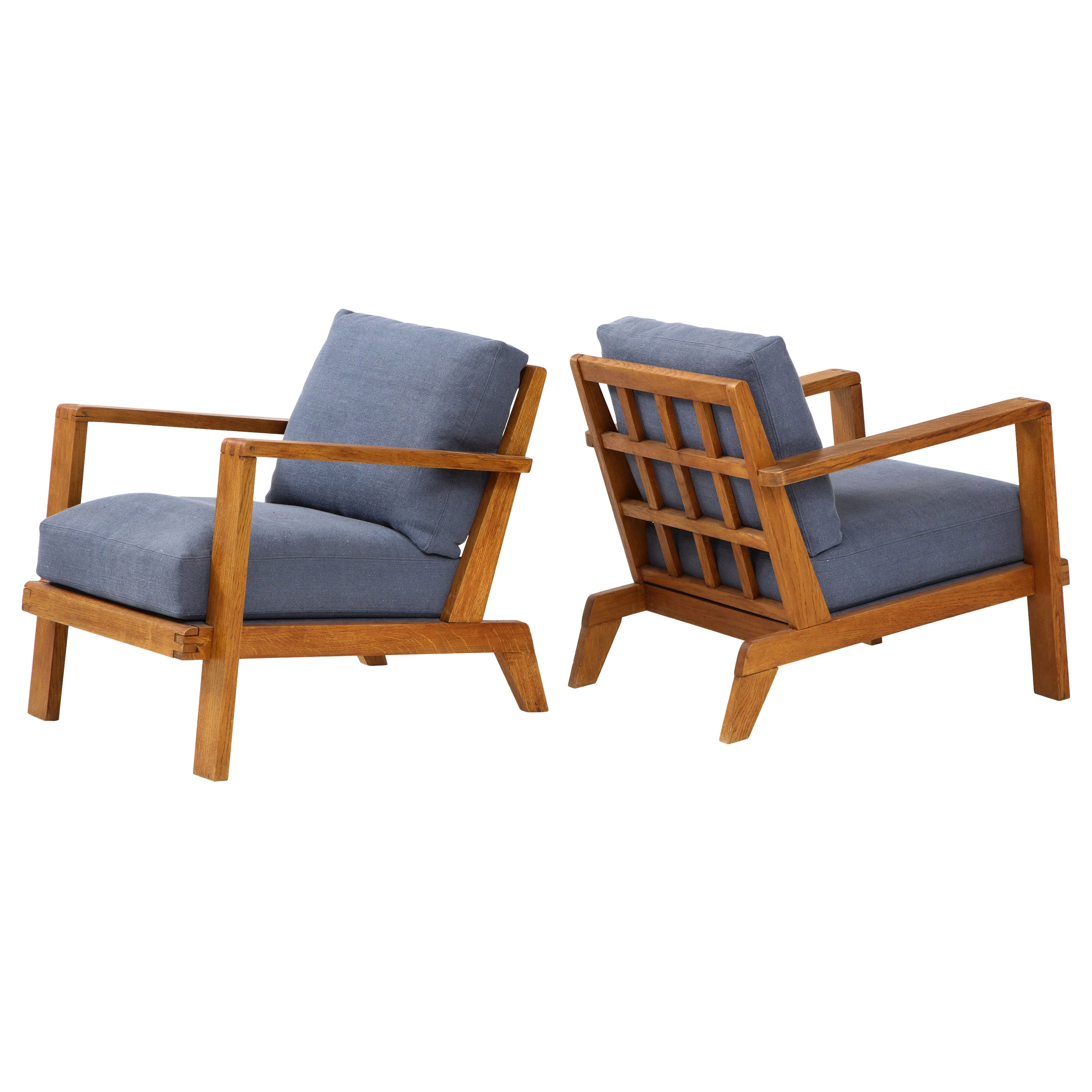 Pair of René Gabriel Oak Armchairs Upholstered in Blue Linen