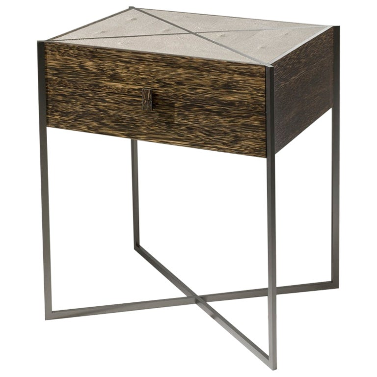 Marrakech Palm Wood and Shagreen Side Table with Drawers by Giordano Viganò