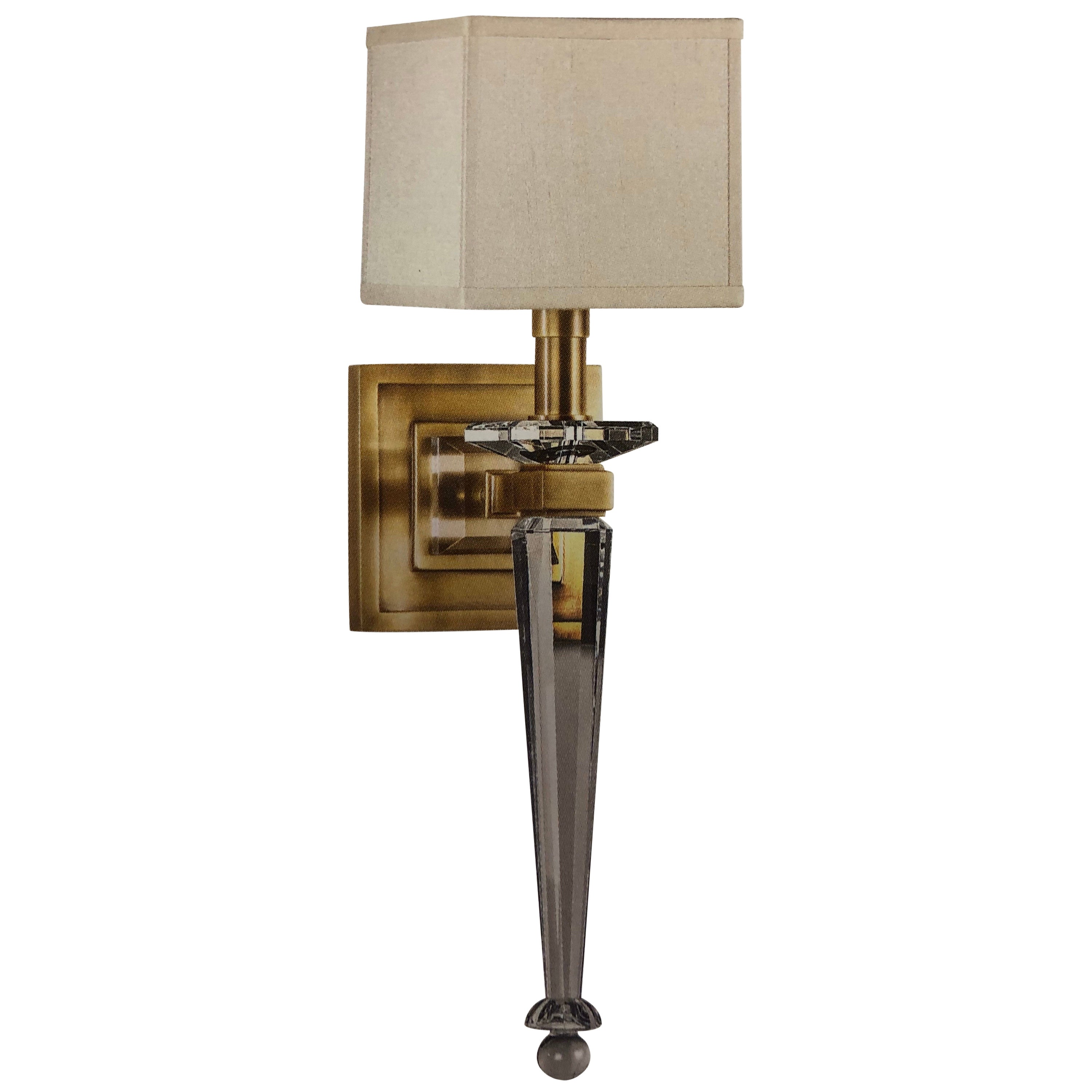 2 Pairs Modern Neoclassical Brass and Crystal Wall Sconces, Andre Arbus style